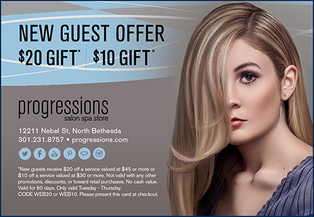 $20 Gift for new clients at Progressions in the Rockville, MD area.