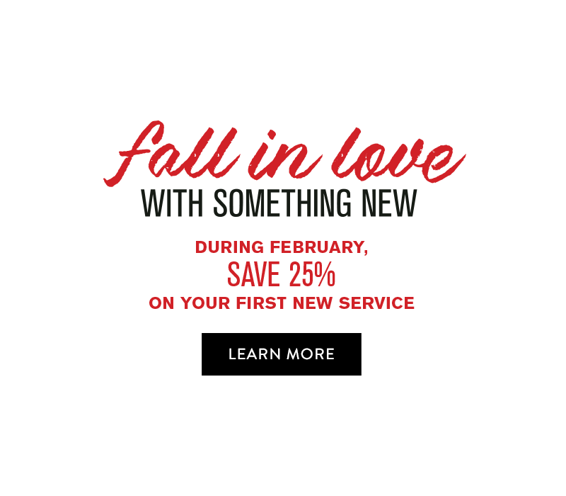 Fall in love with something new. During February, save 25% on your first new service.